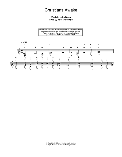 Tablature guitare Christians Awake de Traditional - Guitare Classique