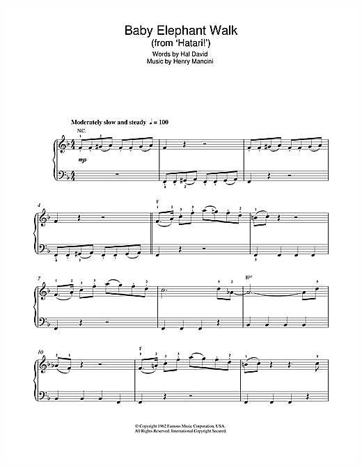 Baby Elephant Walk (from Hatari!) Sheet Music