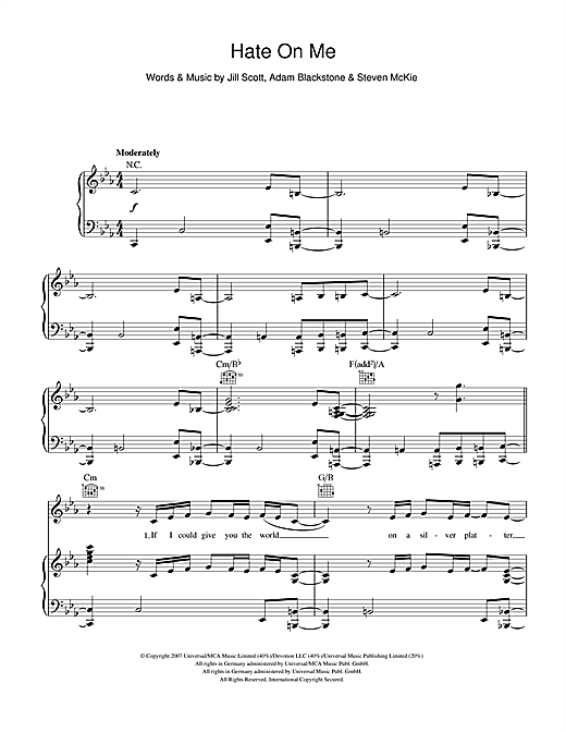 Hate On Me Sheet Music
