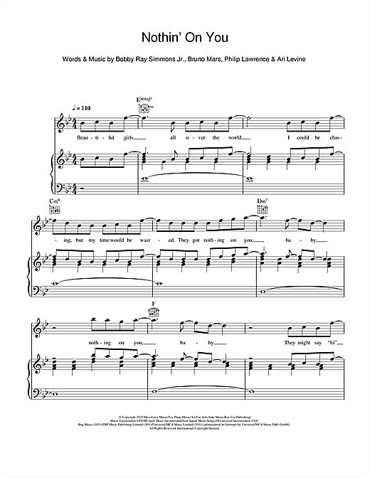 Nothin' On You (feat. Bruno Mars) Sheet Music