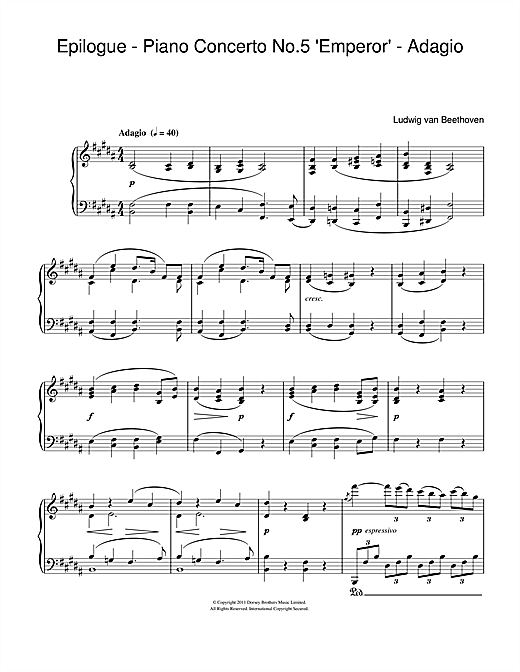"Epilogue (Piano Concerto No.5 ""Emperor"" - Adagio) (from The King's Speech) Sheet Music"