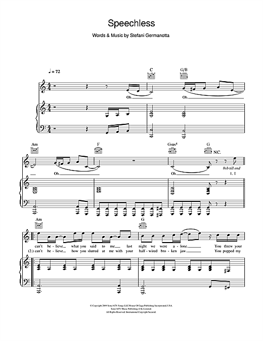 Speechless Sheet Music