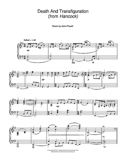 Death And Transfiguration (from Hancock) Sheet Music