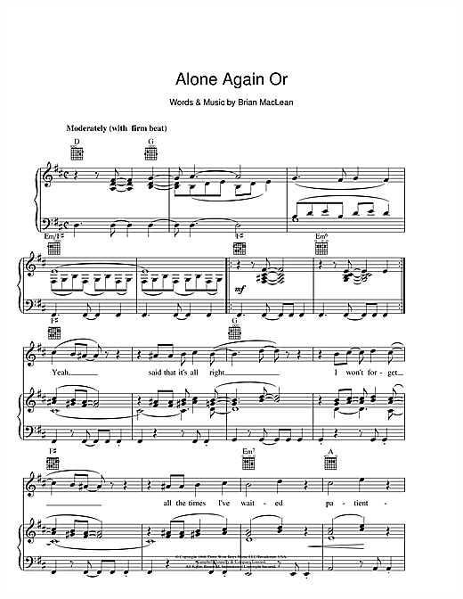 Alone Again Or Sheet Music