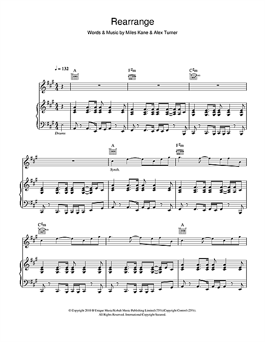 Rearrange (Piano, Vocal & Guitar (Right-Hand Melody))