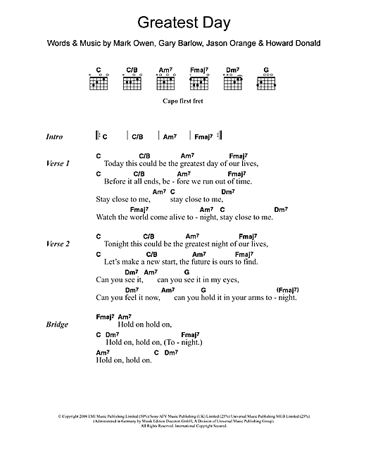 Greatest Day Sheet Music