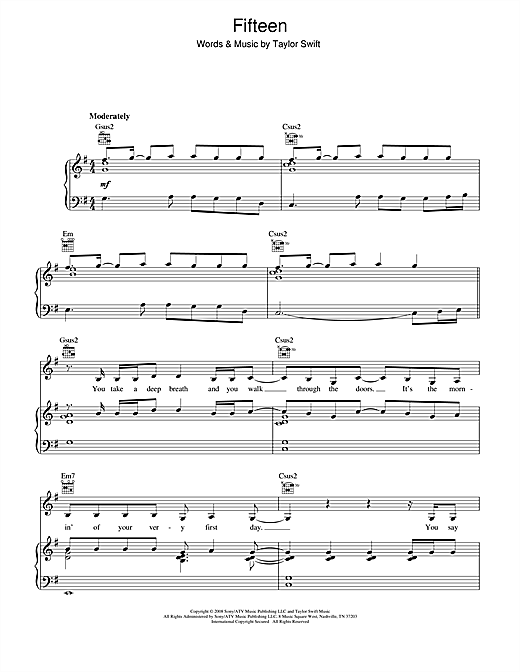 Fifteen (Piano, Vocal & Guitar (Right-Hand Melody))