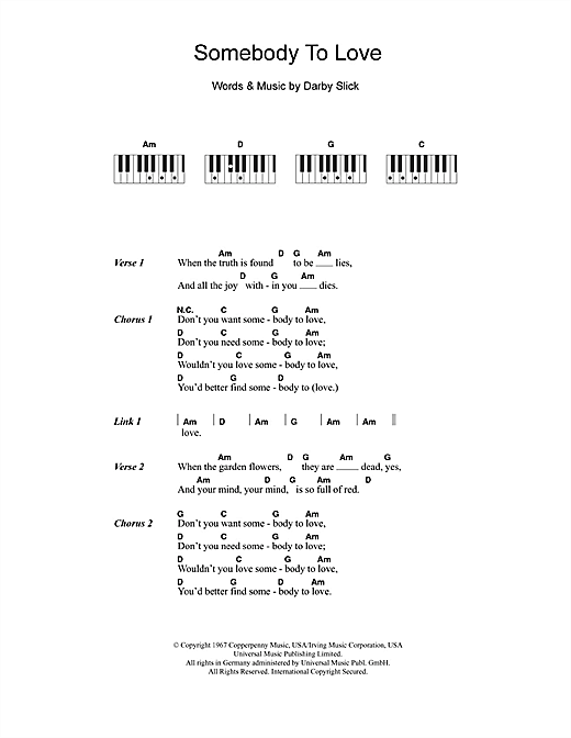 Somebody To Love (Piano Chords/Lyrics)