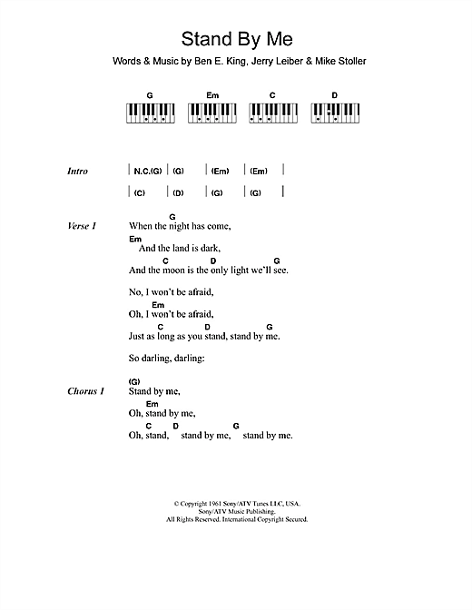 Stand By Me Sheet Music By Ben E King Lyrics Piano Chords 110218