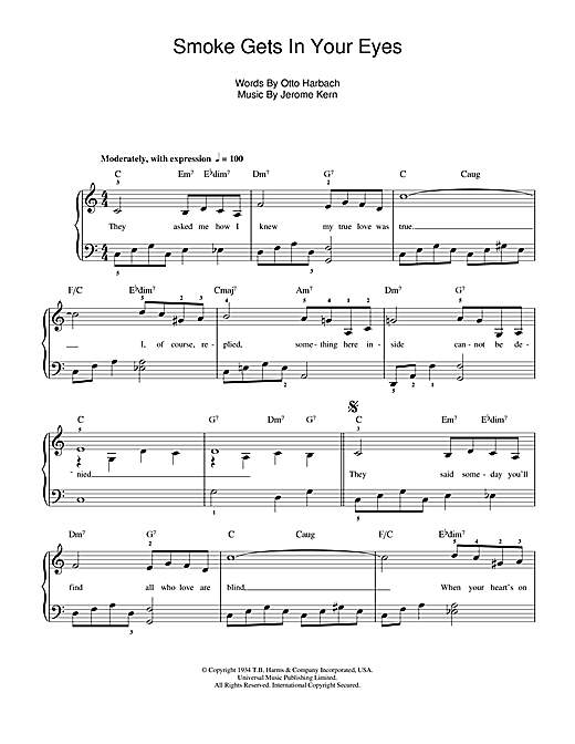 Smoke Gets In Your Eyes (from 'Roberta') Sheet Music