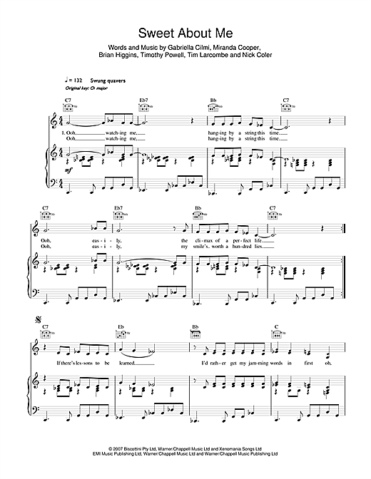 Sweet About Me Sheet Music