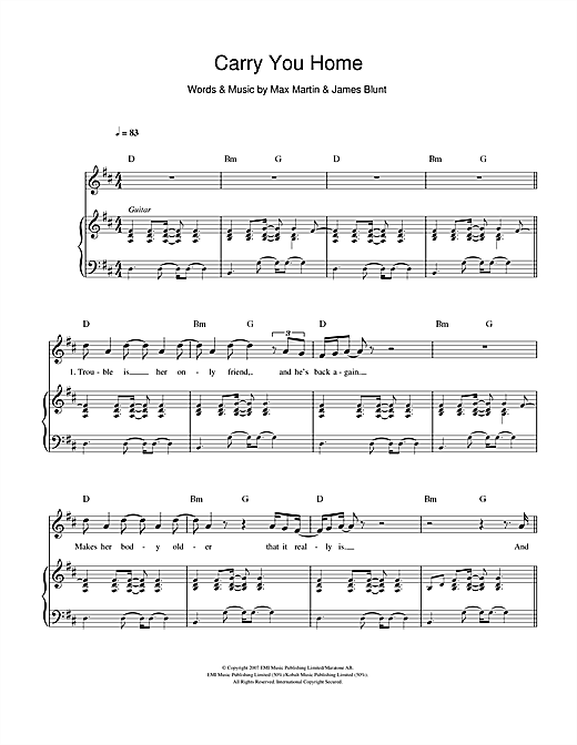 Carry You Home Sheet Music