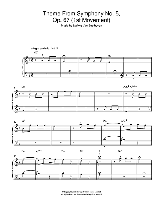 Partition piano Theme from Symphony No. 5, Op. 67 (1st Movement) de Ludwig van Beethoven - Piano Facile