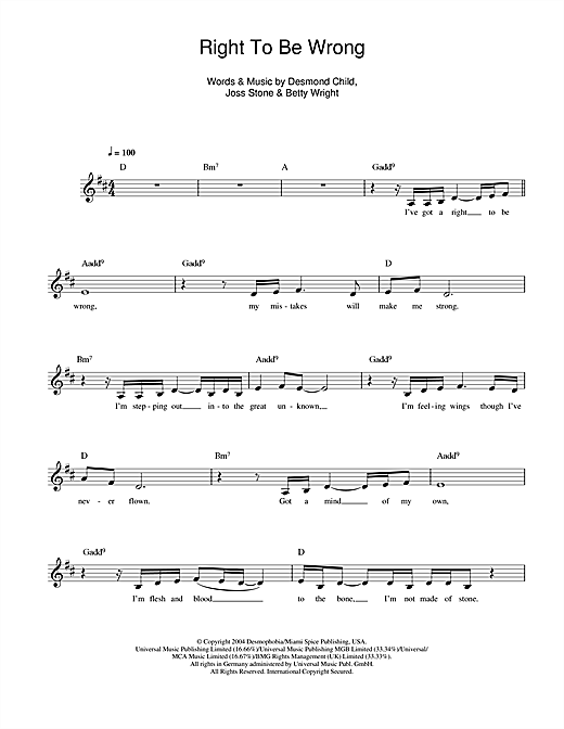 Right To Be Wrong Sheet Music