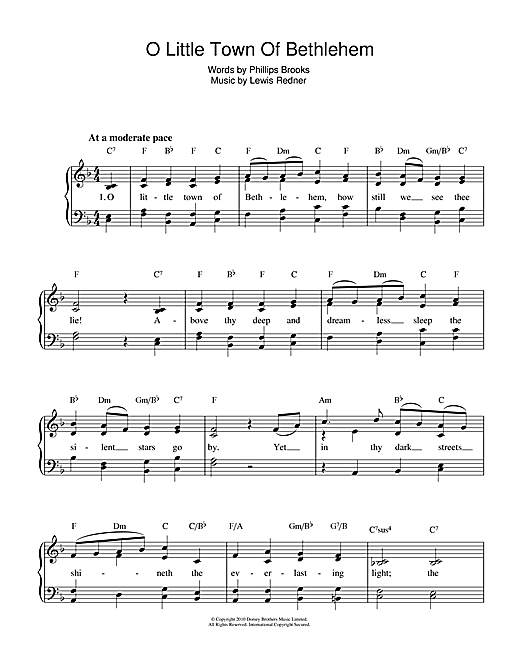 Partition piano O Little Town Of Bethlehem de Christmas Carol - Piano Voix
