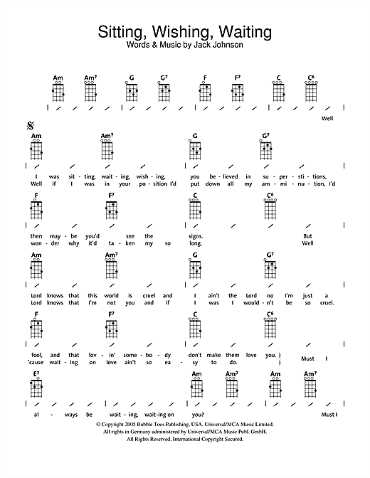 Tablature guitare Sitting, Waiting, Wishing de Jack Johnson - Ukulele (strumming patterns)