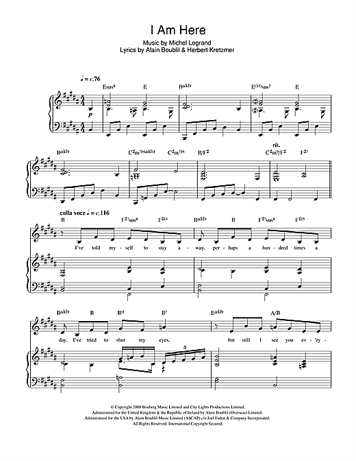 I Am Here (from 'Marguerite') Sheet Music