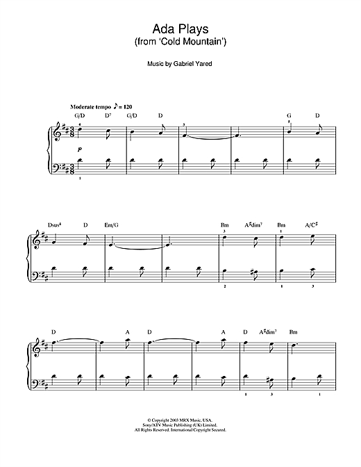 Ada Plays (from 'Cold Mountain') Sheet Music
