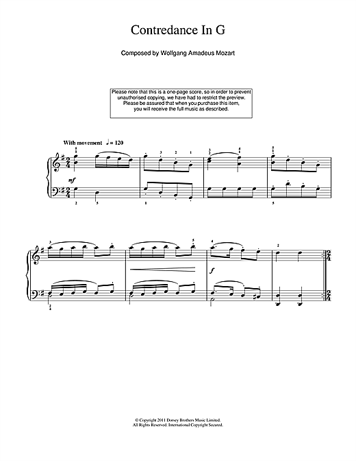 Contredance In G Sheet Music
