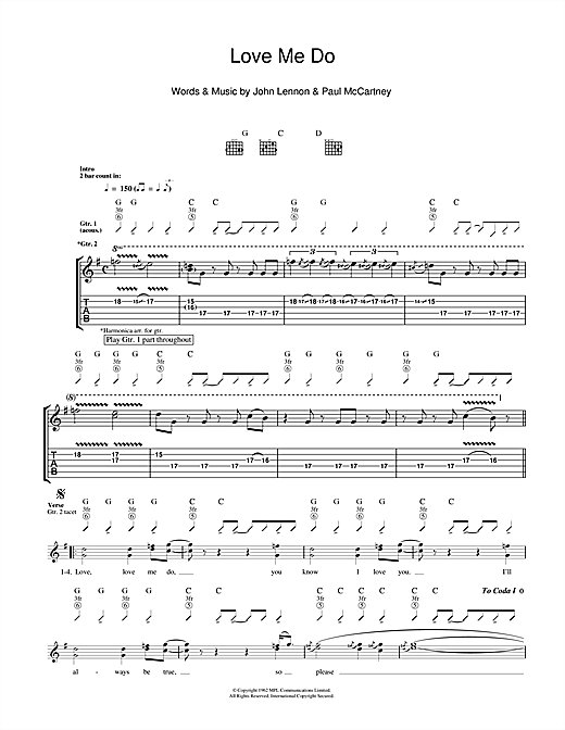Tablature guitare Love Me Do de The Beatles - Tablature Guitare