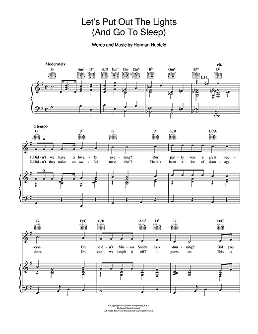 Let's Put Out The Lights (And Go To Sleep) Sheet Music