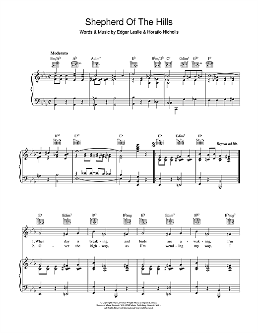 Shepherd Of The Hills Sheet Music