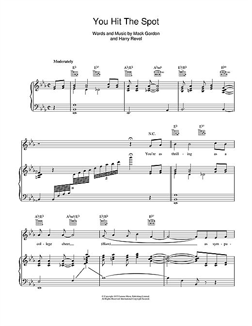 You Hit The Spot Sheet Music