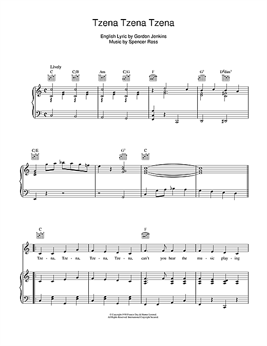 Tzena Tzena Tzena Sheet Music