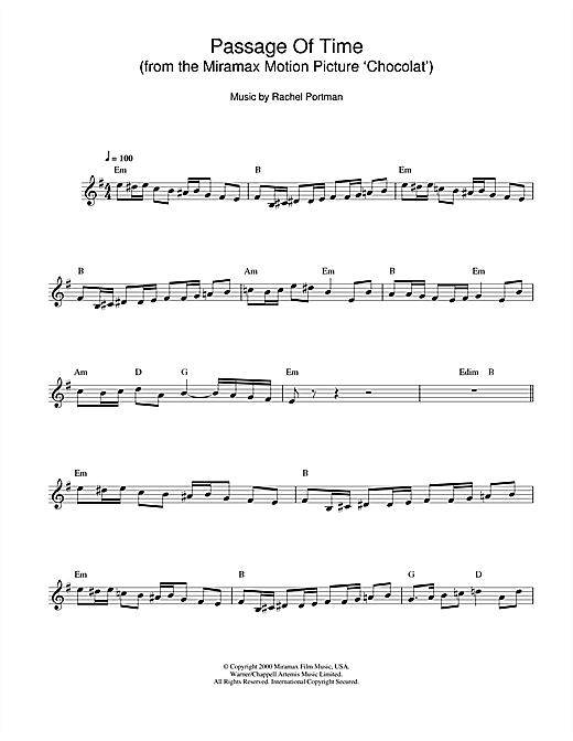 Passage Of Time (from Chocolat) Sheet Music