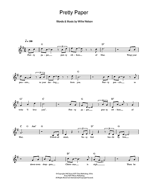 Pretty Paper Chords By Willie Nelson Melody Line Lyrics Chords