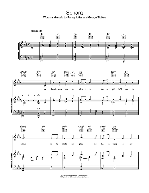 Senora Sheet Music