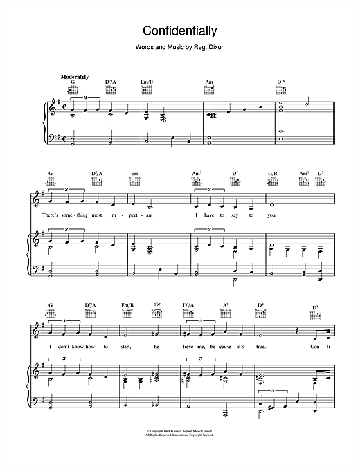 Confidentially Sheet Music