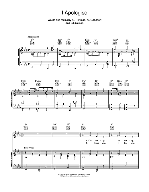 I Apologise Sheet Music