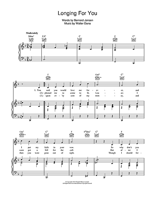 Longing For You Sheet Music