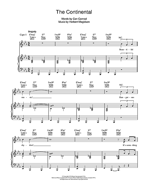 Partition piano The Continental de Maureen McGovern - Piano Voix Guitare (Mélodie Main Droite)