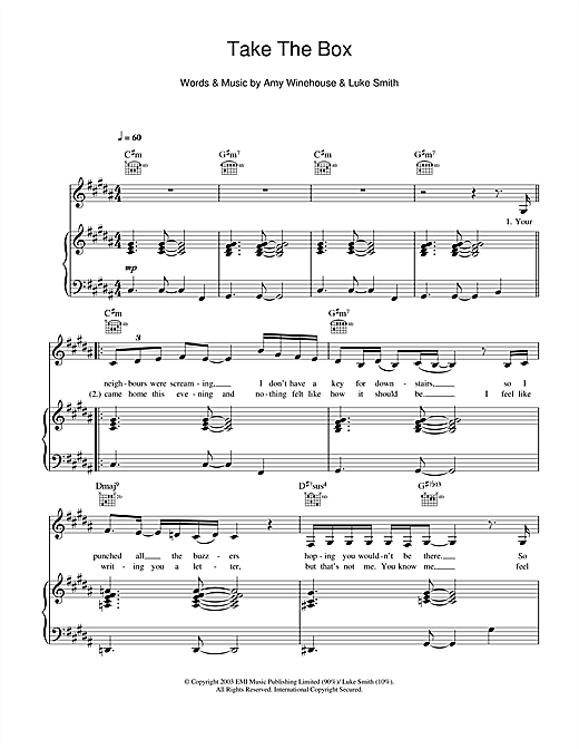 Take The Box Sheet Music