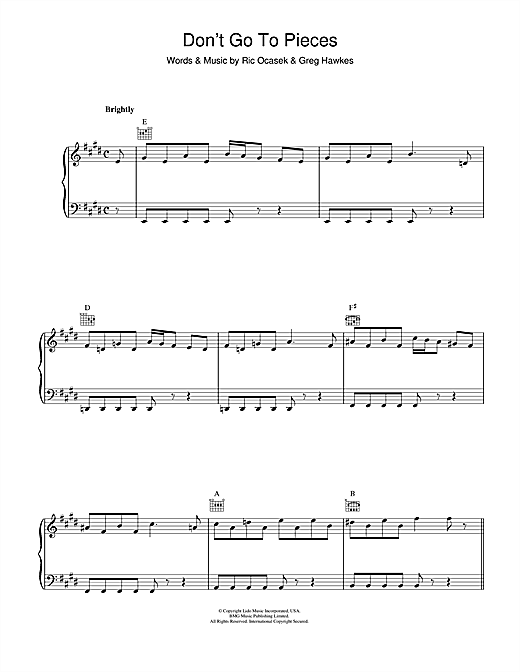 Partition piano Don't Go To Pieces de The Cars - Piano Voix Guitare