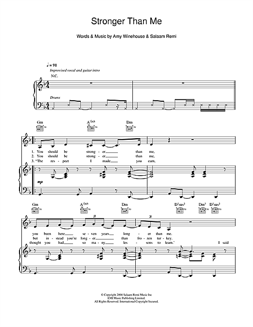 Stronger Than Me Sheet Music