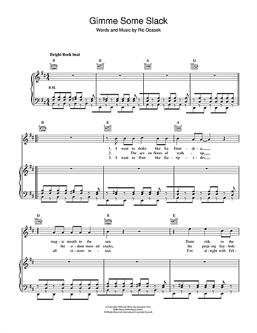 Partition piano Gimme Some Slack de The Cars - Piano Voix Guitare