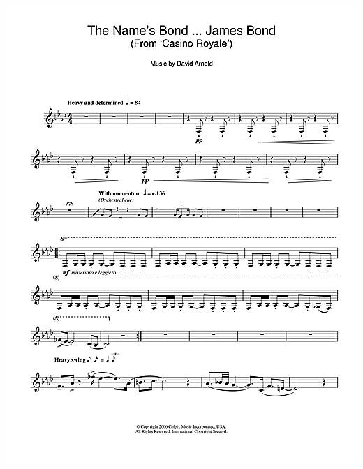 The Name's Bond ... James Bond (from Casino Royale) Sheet Music