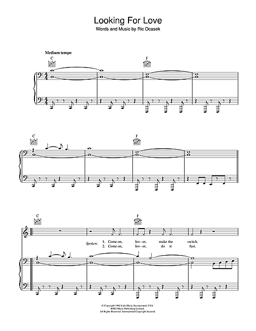 Looking For Love Sheet Music