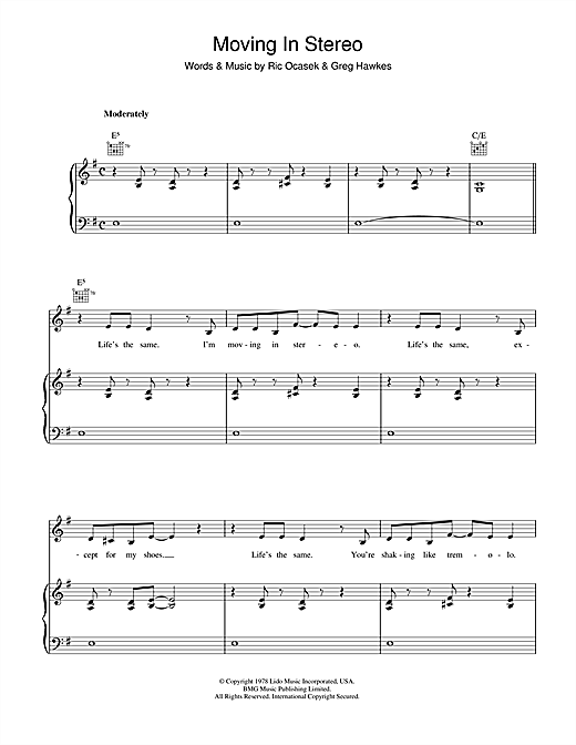 Partition piano Moving In Stereo de The Cars - Piano Voix Guitare