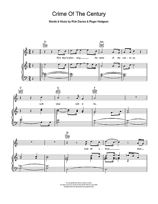 Crime Of The Century (Piano, Vocal & Guitar (Right-Hand Melody))
