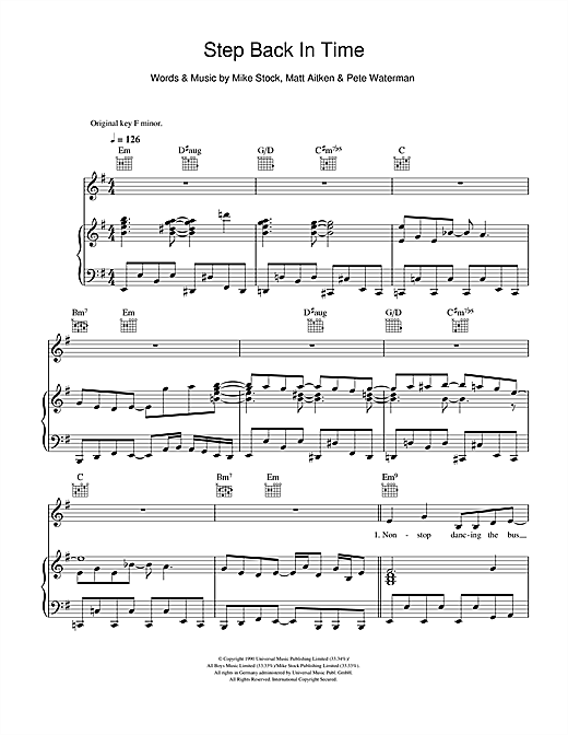 Step Back In Time Sheet Music