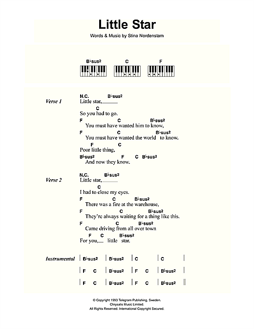 Little Star Sheet Music By Stina Nordenstam Lyrics Piano Chords