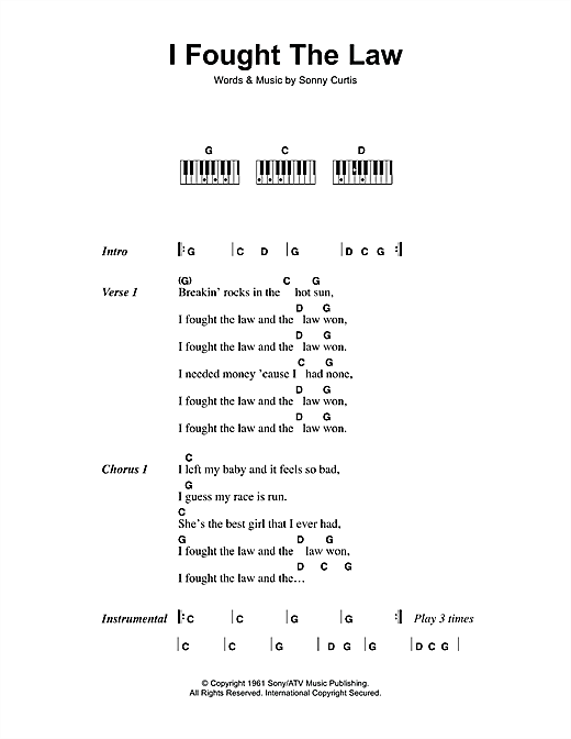 I Fought The Law Sheet Music