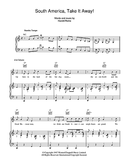 South America, Take It Away! Sheet Music
