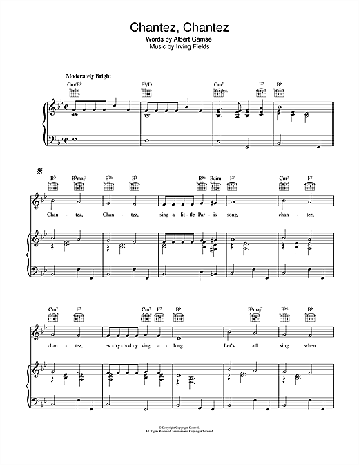 Chantez, Chantez (Piano, Vocal & Guitar (Right-Hand Melody))