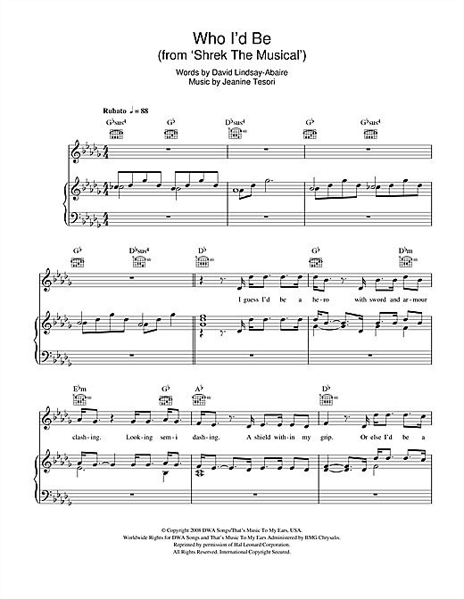 Who I'd Be (from 'Shrek The Musical') Sheet Music