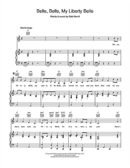 Belle, Belle, My Liberty Belle Sheet Music